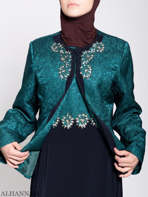 Damask Brocade Henna Dress close up