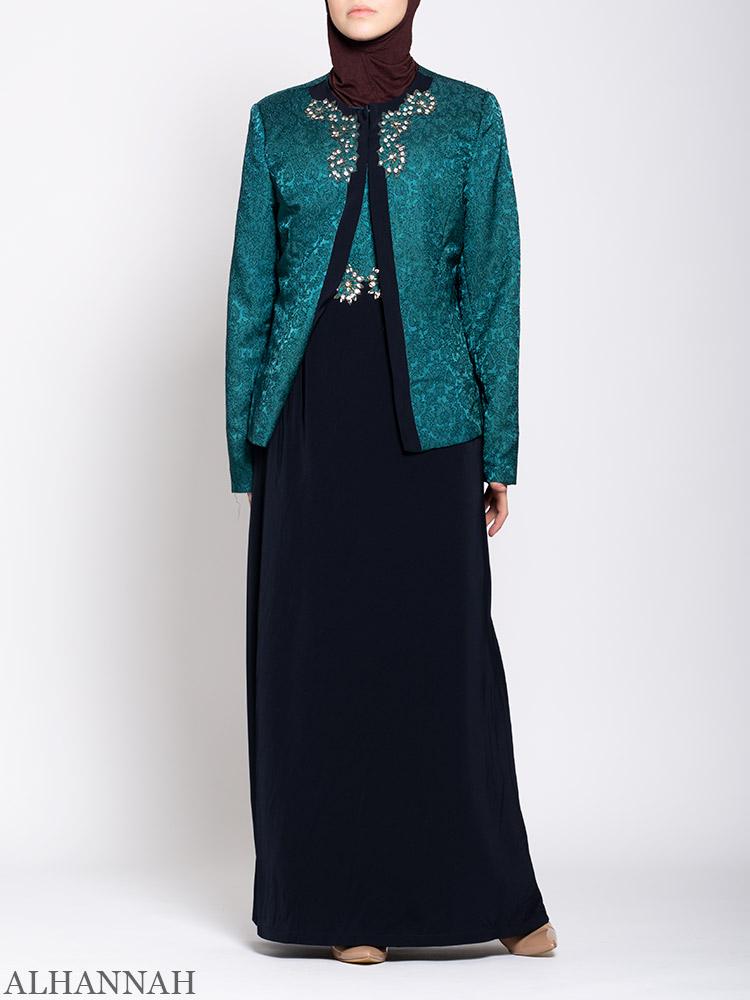Damask Brocade Henna Dress