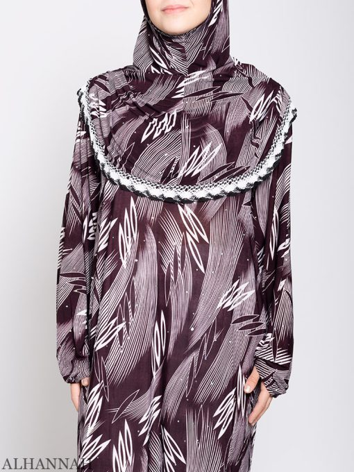Maroon Abstract One Piece Prayer Outfit ps533 Close Up