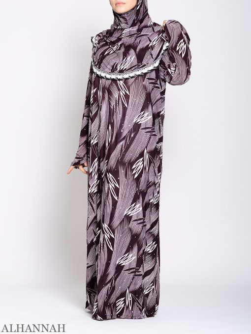 Maroon Abstract One Piece Prayer Outfit ps533 Front