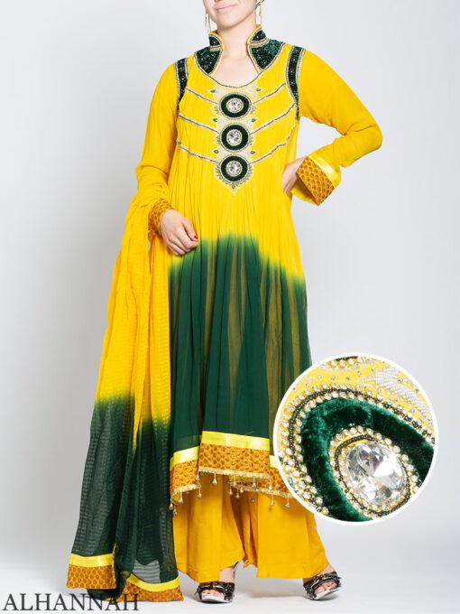 Embellished Velvet Trimmed Rhinestone Pineapple Salwar Kameez sk1245