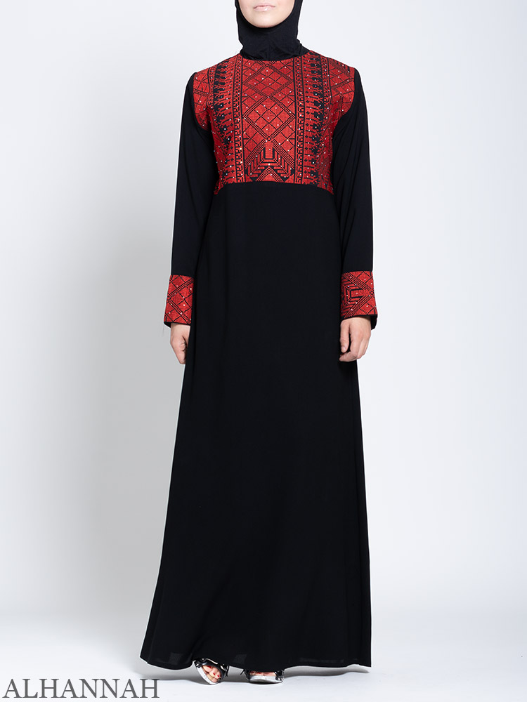 Fellaha Thobe with Red Embroidery