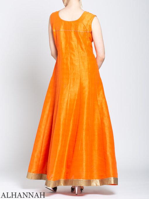 Pearl Embellished Sleeveless Orange Salwar Kameez sk1248 Back