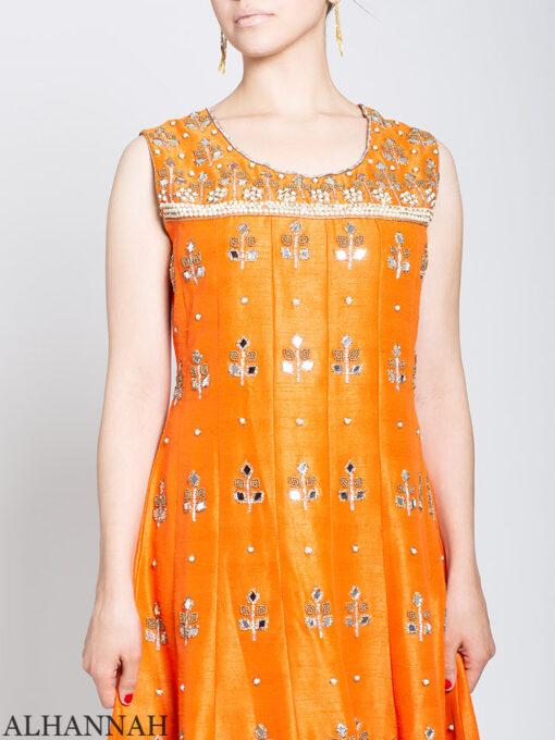 Pearl Embellished Sleeveless Orange Salwar Kameez sk1248 Close Up