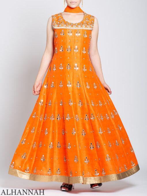 Pearl Embellished Sleeveless Orange Salwar Kameez sk1248 Front