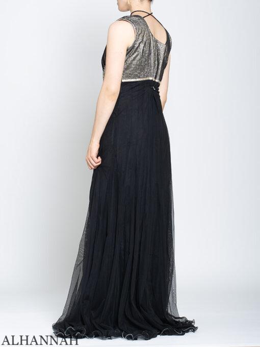 Rhinestone Daisy Sleeveless Black Mehndi Dress sk1246 Back