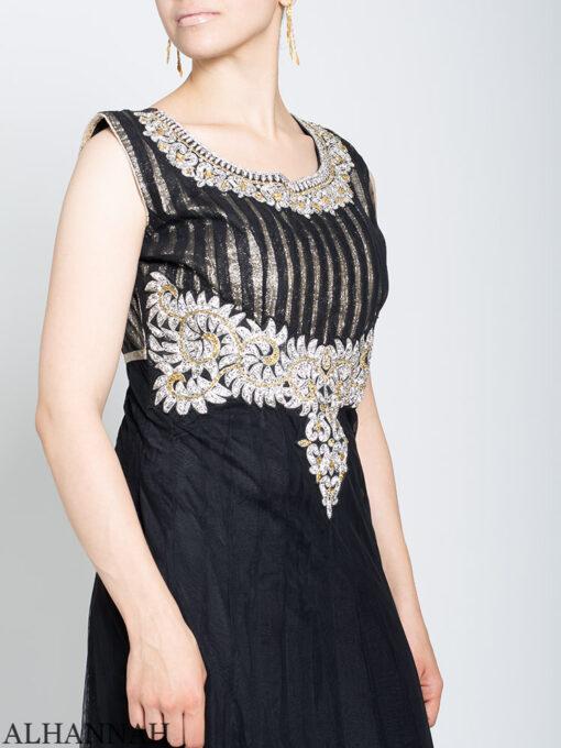 Rhinestone Daisy Sleeveless Black Mehndi Dress sk1246 Close up