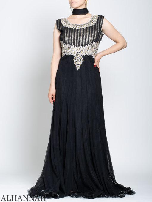 Rhinestone Daisy Sleeveless Black Mehndi Dress sk1246 Front