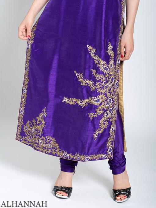 Rhinestone Paisley Sleeveless Purple Salwar Kameez sk1249 Close up Leg