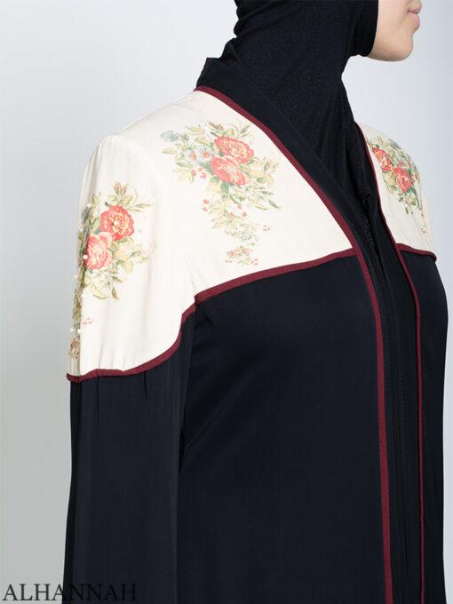 Rose Print abaya Side