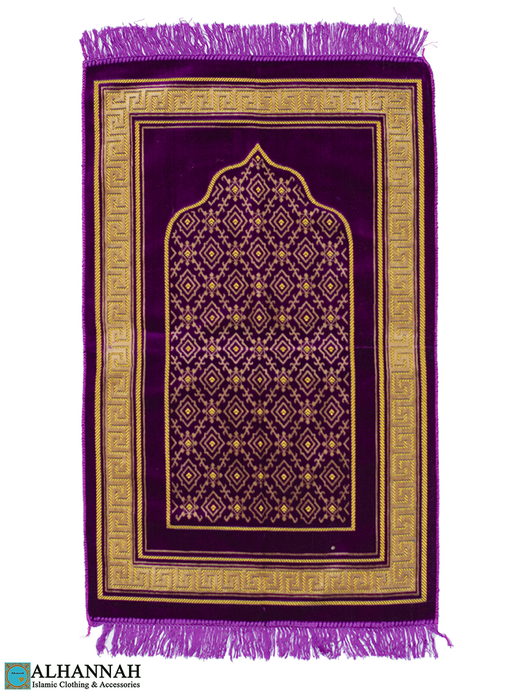 Grape Prayer Rug Geometric Border