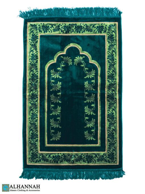 Turkish Prayer Rug Emerald Floral Border