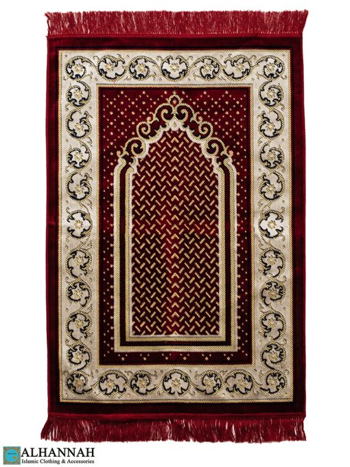 Classic Red Prayer Rug with Tan Border