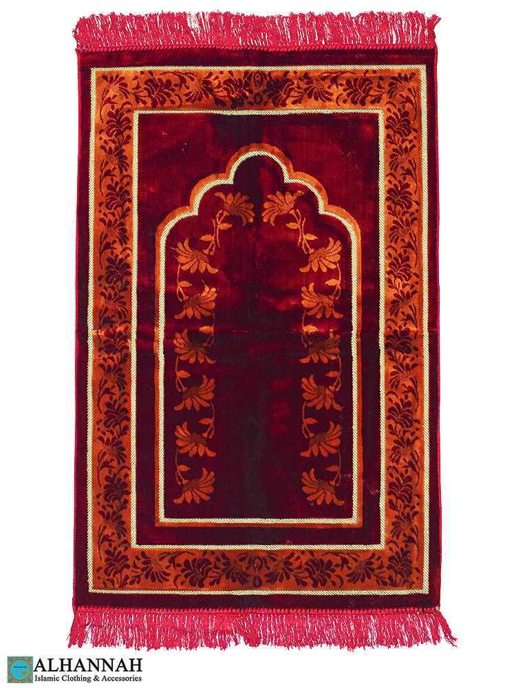Red Prayer Rug with Vines Border