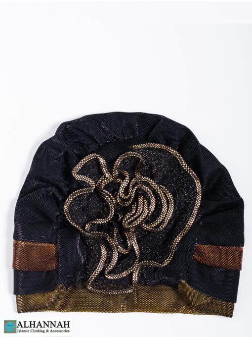 Cap Style Underscarf Black Gold