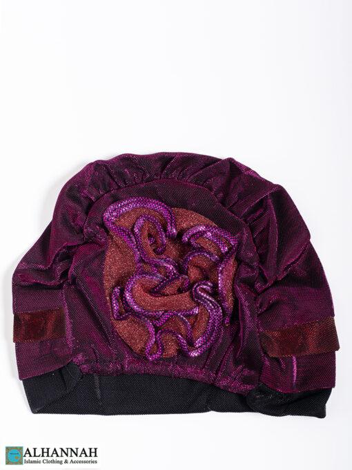 Cap Style Underscarf Grape Ruby Black