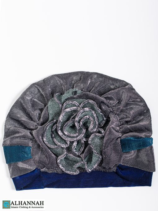 Cap Style Underscarf Silver Royal Blue