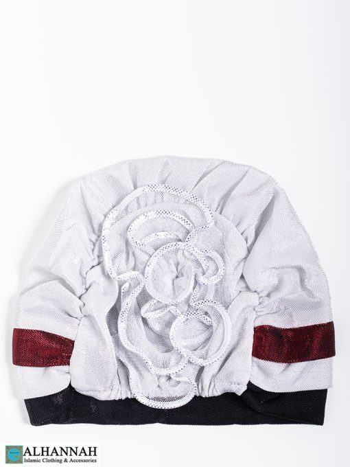 Cap Style Underscarf White Black