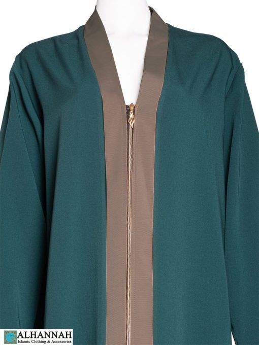Contrast Trim Abaya in Toasted Almond Trim