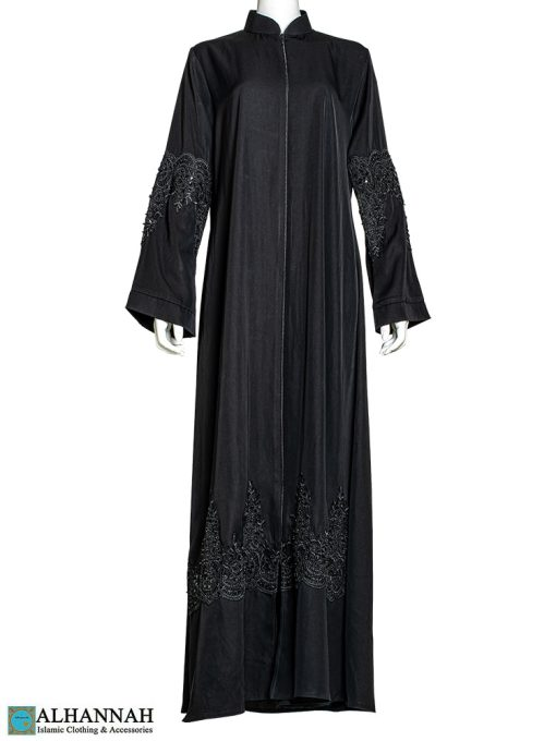Black Abaya with Sequined Applique