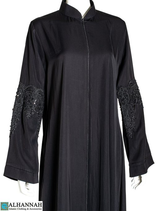 Black Abaya with sequined appliqué Close-Up
