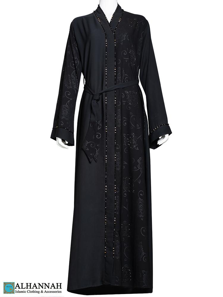 Black Abaya with Rhinestone Accents