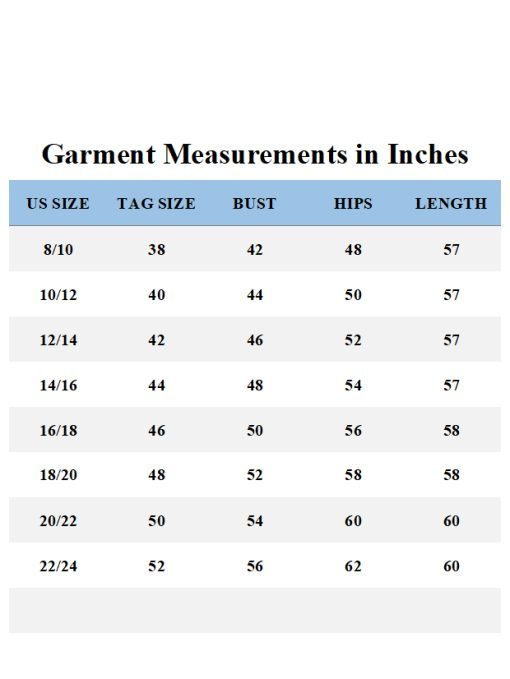Garment Measurements Contrast Trim Abaya