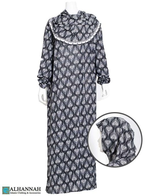 One Piece Prayer Outfit Black Feathers Print