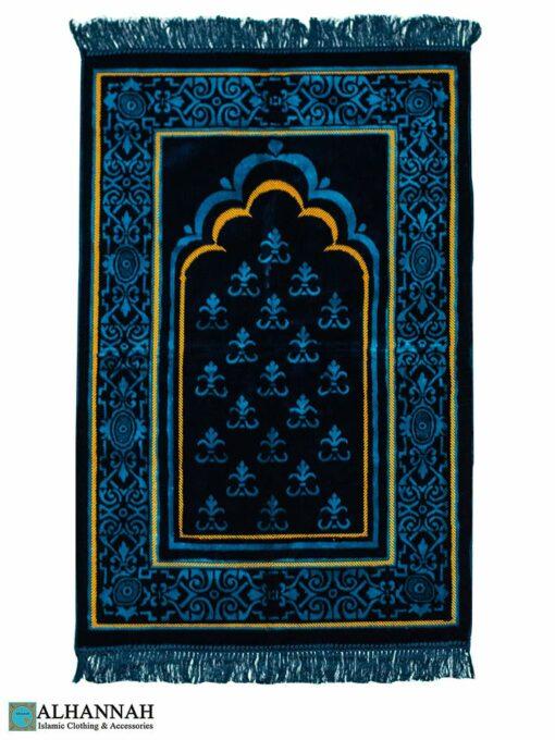Plush Turkish Prayer Rug Blue