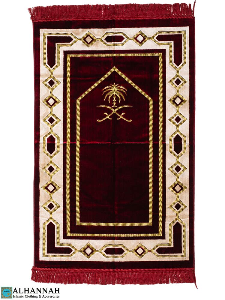 Prayer Rug Saudi Double Swords in Red