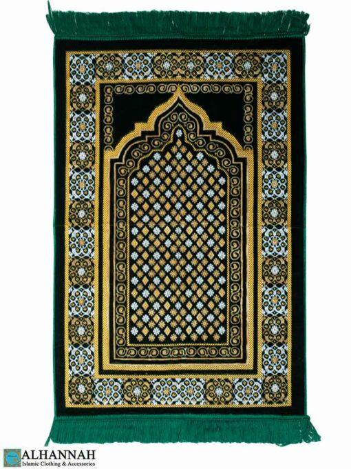 Turkish Prayer Rug Featuring Geometric Pattern Emerald
