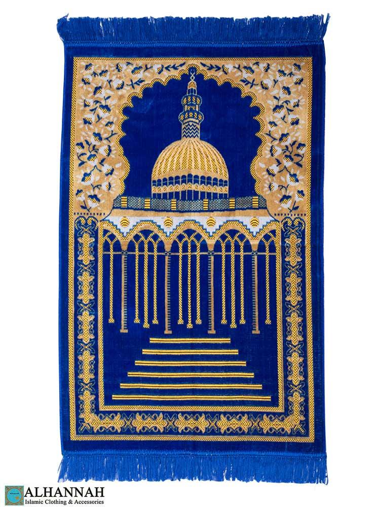 Turkish Prayer Rug Featuring Mosque Royal Blue