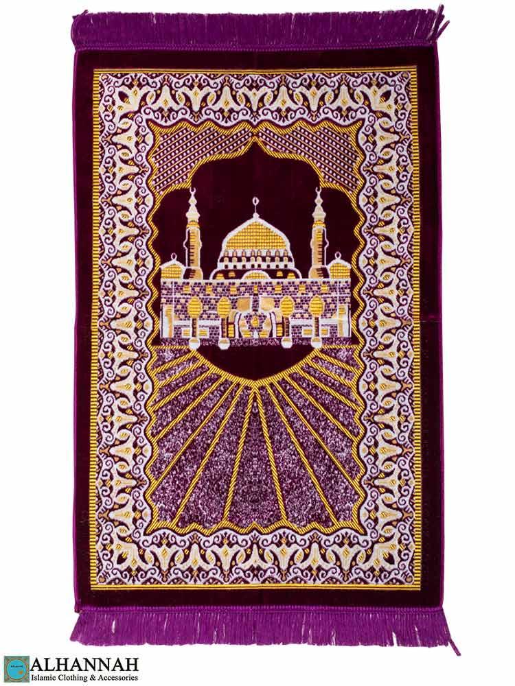 Turkish Prayer Rug Featuring Prophet's Mosque