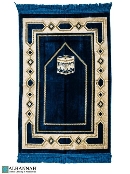 Turkish Prayer Rug Kaaba Motif Peacock Blue
