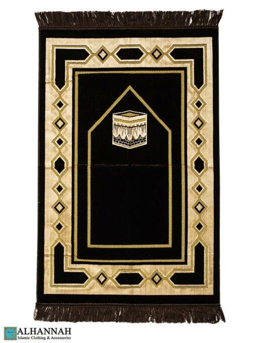 Turkish Prayer Rug with Kaaba Motif Brown