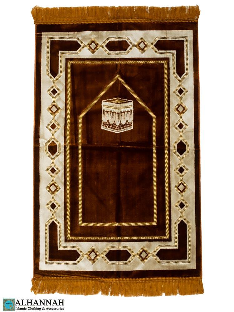 Turkish Prayer Rug with Kaaba Motif Cinnamon