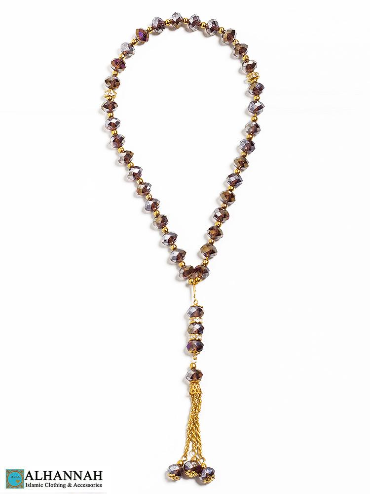 Crystal Tasbih Beads Smoky Amber