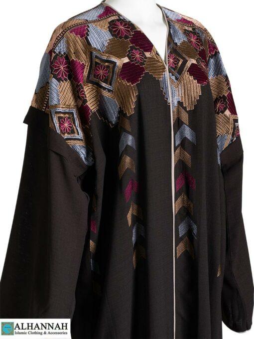 Embroidered Abaya Brown Closeup