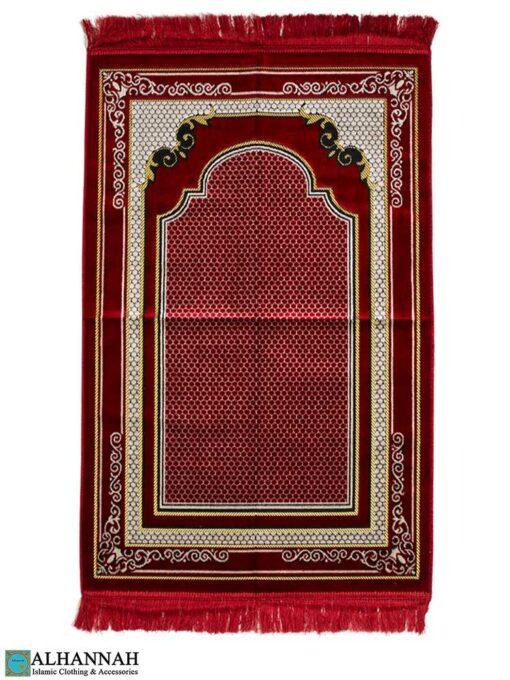 Islamic Prayer Rug Scroll Border - Red