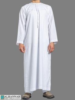 Yemeni Thobe with Tassels - White