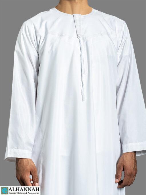 Yemeni Thobe with Tassels - White closeup