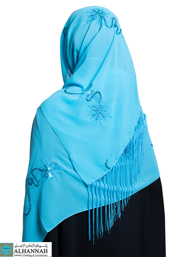 Chiffon Hijab with Fringe and Sequins
