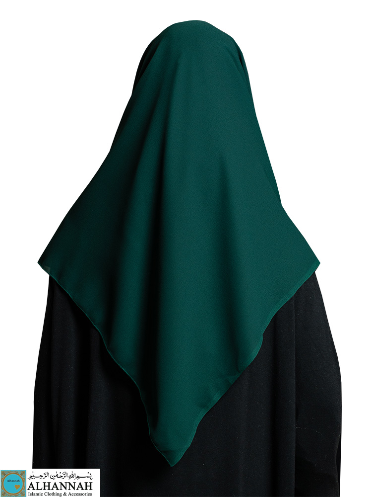Oversize Square Chiffon Hijab in Hunter Green