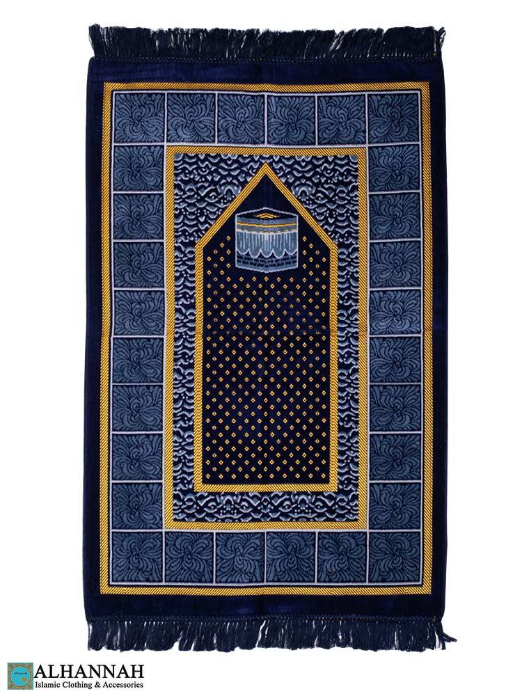 Prayer Rug with Kaaba Design - Blue