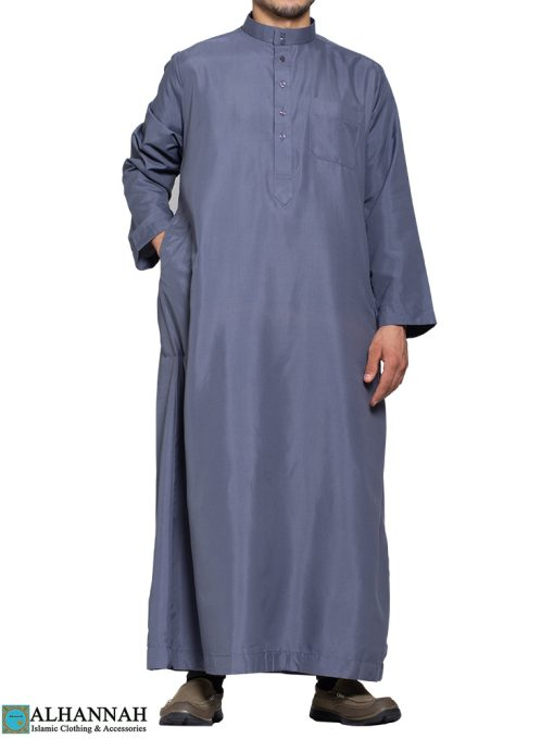 Saudi Thobe in Slate - 3 Pockets