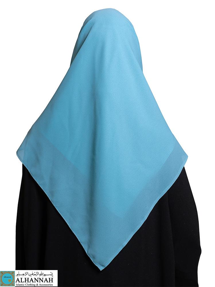 Square Chiffon Hijab Turquoise Blue