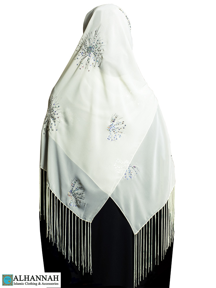 Chiffon Hijab with Fringe and Sequins in Ivory