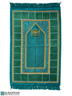 Prayer Rug with Kaaba in Aqua