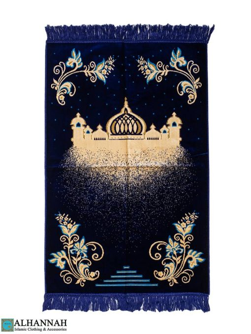 Prayer Rug with Masjid and Floral Scrolls in Navy