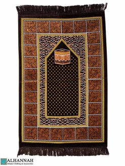 Turkish Prayer Rug with Kaaba - Brown
